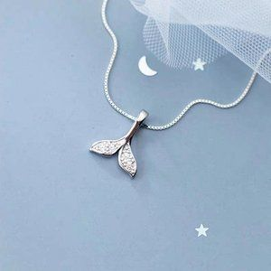 925 Sterling Silver Diamond Mermaid Tail Necklace